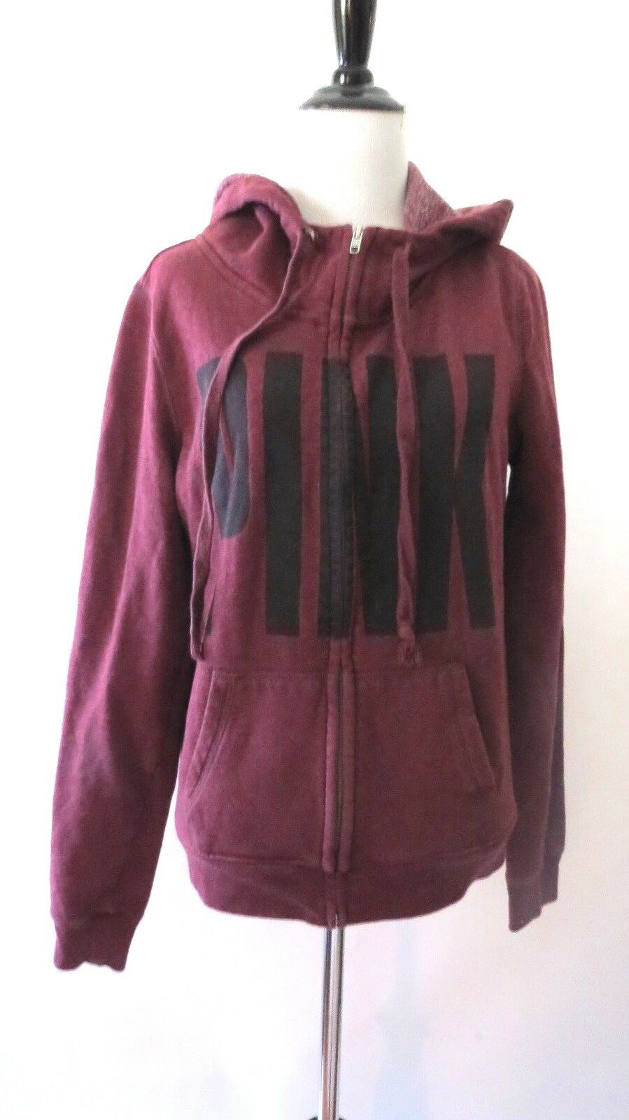 Pink Victoria Secret Maroon color Long Sleeve Zipper Hoody Size SP