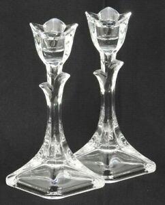 Set-of-2-Pair-Vintage-Crystal-Tulip-Candlestick-Holders-7-7-8-034-Tall-Flower-Sh