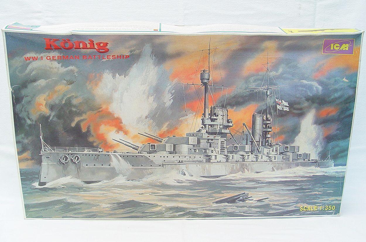 ICM Ukraine (USA) 1 350 SMS KÖNIG German WWI BATTLESHIP CRUISER Model Kit MIB`70