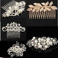 New Bridal Wedding Flower Pearls Hair Comb Clip Diamante Crystal Rhinestone
