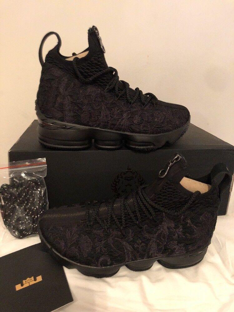 Nike LeBron 15 XV Kith Ronnie Fieg Perf Suit of Armor Black Size 7 AJ3936-001