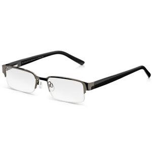 029cc7779d5 Semi-Rimless Glasses  Mens Black Half Frame Ready Readers. Metal ...