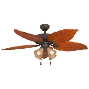 Details About Ceiling Fan 52in Bronze Palm Leaves Blade Wood 3 Sd Reversible 3721 Cfm Large