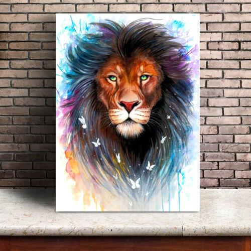 Abstract Watercolor Wild Animal Canvas Wall Art Lion Wolf Owl Home Nursery Decor