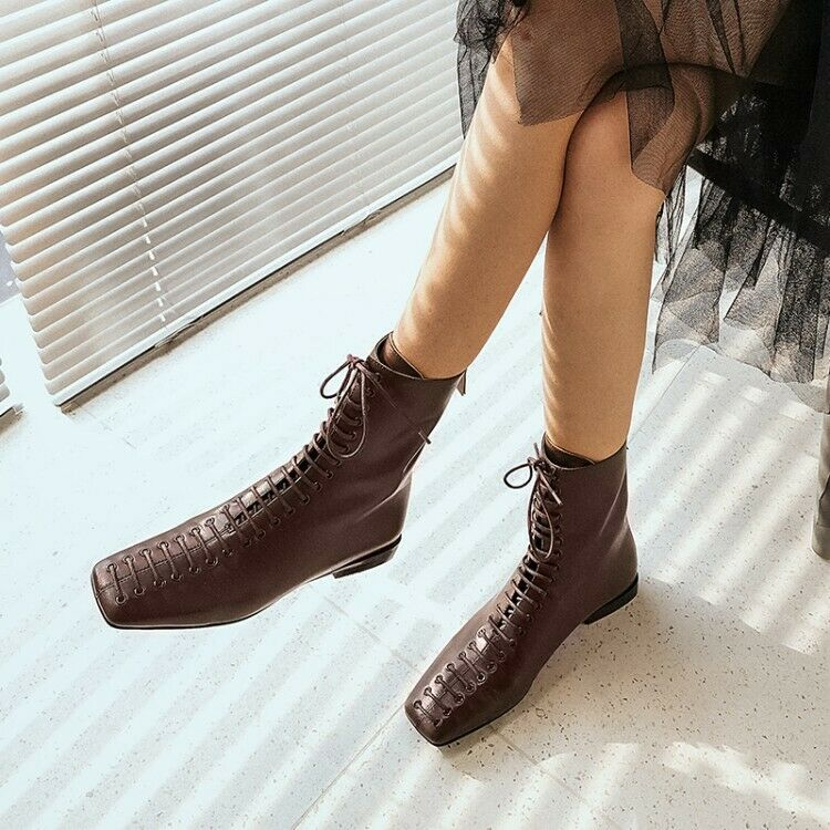 Women Genuine Leather Ankle Boots Square Toe Booties Lace Up shoes Back Zipper