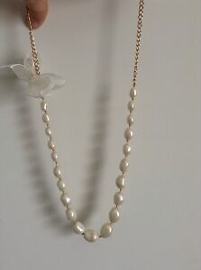 23034 Freshwater Pearl Necklace Hand Knotted On Silk Chain Champagne Ribbon Bow - <span itemprop=availableAtOrFrom>Hove, East Sussex, United Kingdom</span> - 23034 Freshwater Pearl Necklace Hand Knotted On Silk Chain Champagne Ribbon Bow - Hove, East Sussex, United Kingdom