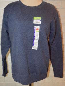 Women's Hanes Navy Blue Heather Long Sleeve Pullover Crew Sweatshirt Top S - XL