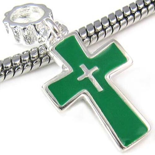 5 Pcs Green Cross Silver European Charms Beads For Bracelet Necklace L#570