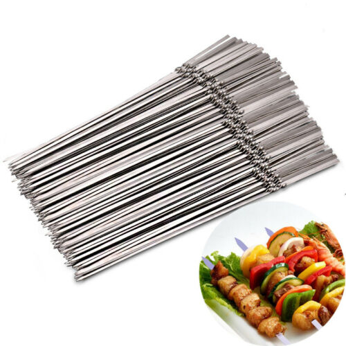 Details about  /15pcs Reusable Flat Stainless Steel Barbecue Skewers Vegetable Needle BBQ Stick