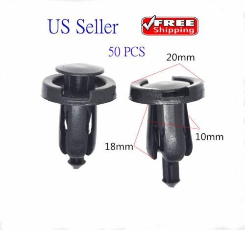 50pcs 10mm for Honda Clips Plastic Push Type Rivet Retainer Fastener Bumper Pin