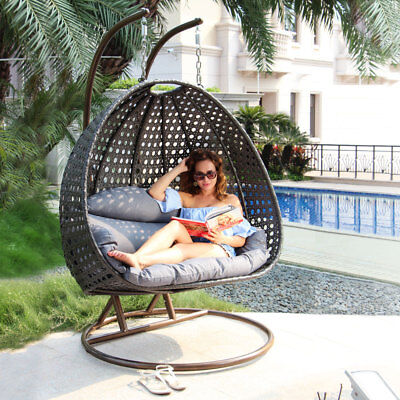 Island Gale 2person Outdoor Patio Rattan Hanging Wicker