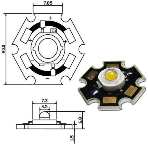 Haute performance LED puce a carte 3w blanc chaud power
