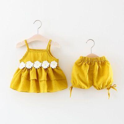 Infant Baby Boy Girl Ruffle Basic T-Shirt Tops Long Pants Shorts 2Pcs Outfits Set