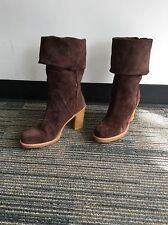 UGG AUSTRALIA 3214 JOSIE WOMEN BOOTS SZ 8 Brown Suede MID CALF Tall HEEL WINTER