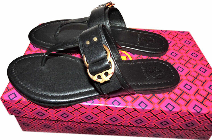 1aae517411d ... Tory Burch Marsden Flat Thongs Sandals Black Leather shoes shoes shoes  Flip Flops 6.5 c04fa1 ...