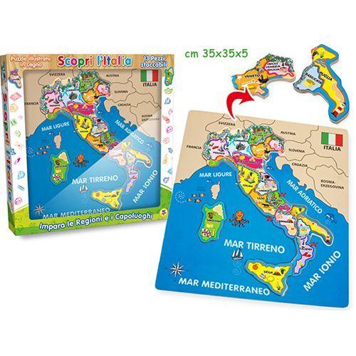 PUZZLE ITALIA LEGNO GIOCO BAMBINO GIOCHI EDUCATIVI 40462 REGIONI
