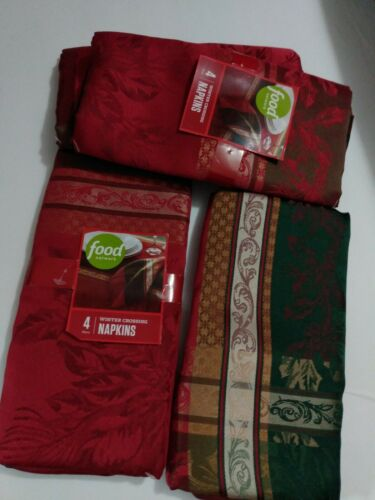 NEW Food Network WINTER CROSSING Christmas Jacquard napkins