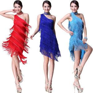 Danse Latine Costume Tassel Strass (robe, Collier, Brassard) 9 Couleurs-afficher Le Titre D'origine
