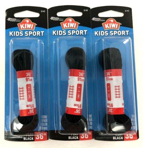 "KIWI   KIDS SPORT    36/"" Shoe Laces   3 Pair   Flat Black 6143      NEW"