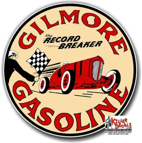 """GILM-2 1.5/"""" GILMORE RACE CAR GASOLINE OIL VINYL DECAL FOR GAS PUMP LUBESTER"""