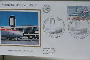 ENVELOPPE-PREMIER-JOUR-SOIE-1982-AEROPORT-DE-BALE