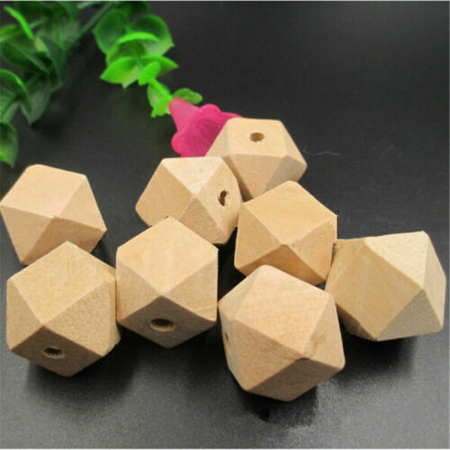 10//20PCS  Unfinished Geometric Natural Wood Loose Beads Hole DIY Crafts Supplies