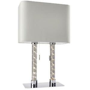 Oval-Lampara-de-Mesa-con-Led-Columna-Luz-Doble-Tela-Blanco-Interruptor-Tirador