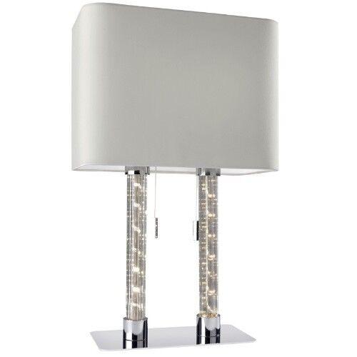 Ovale Lampe de Table avec Led Colonne D'Éclairage Double Tissu Blanc