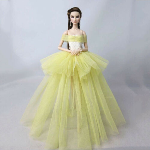 "Yellow Fashion Costume Clothes For 11.5/"" Doll Dress 1//6 Wedding Dresses Outfits"