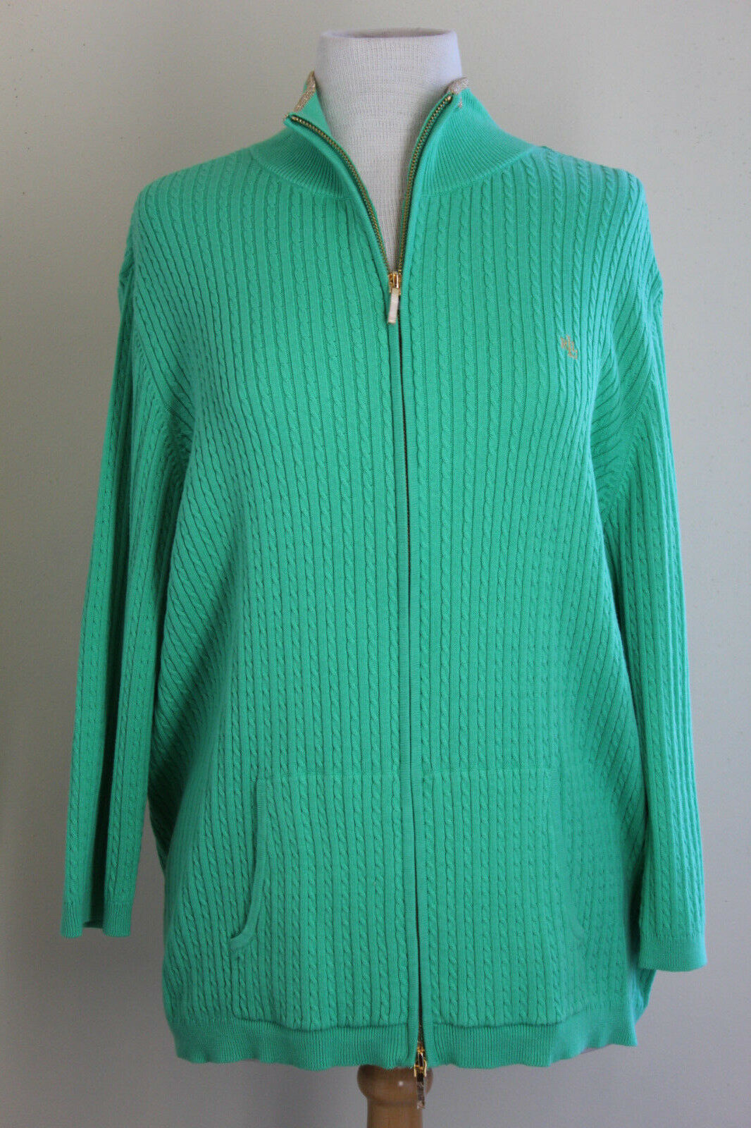 NWT Ralph Lauren -Sz 2X - Green Cable Logo Zip-Up Cardigan Sweater