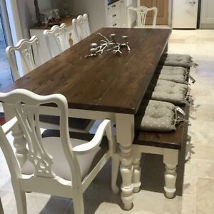 Image Is Loading Large 7ft Farmhouse Table And Chairs Bench Shabby