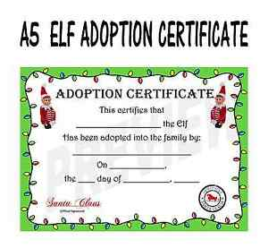image is loading christmas elf adoption certificate