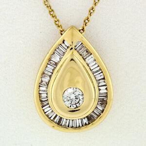 14k-Gold-1-00ctw-Round-amp-Baguette-Diamond-Pear-Tear-Drop-18-034-Pendant-Necklace