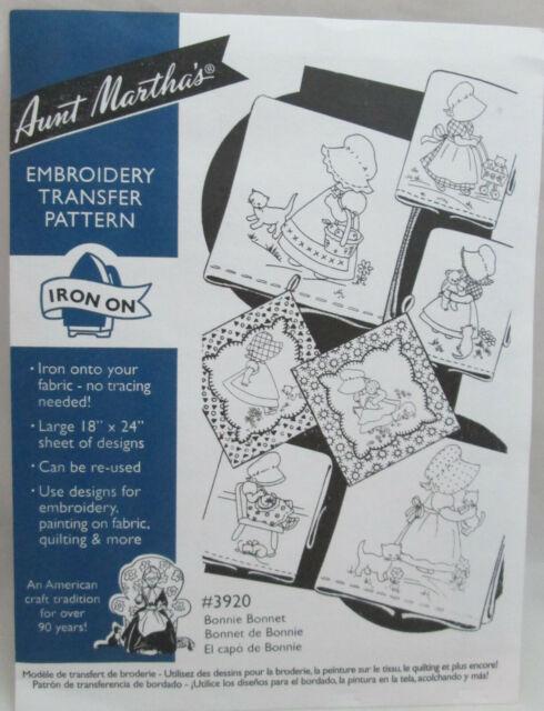 Bonnie Bonnet #3920 Aunt Martha/'s Hot Iron Embroidery Transfer Pattern