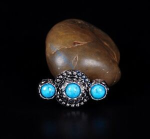 6PCS-40-32-Turquoise-Flower-Antique-Silver-Leathercraft-Hardware-Decor-Conchos
