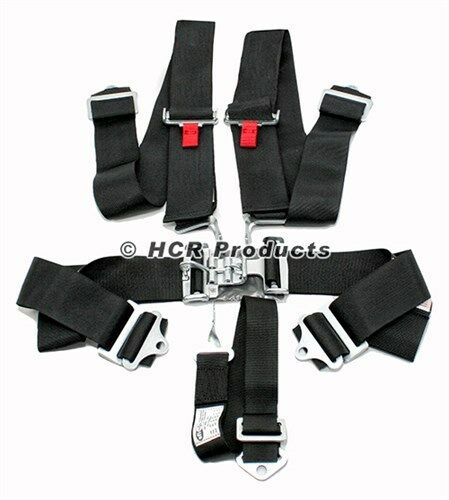 Black 5 Point Driver Restraint Safety Harness Bolt In or Wrap Around Latch Link