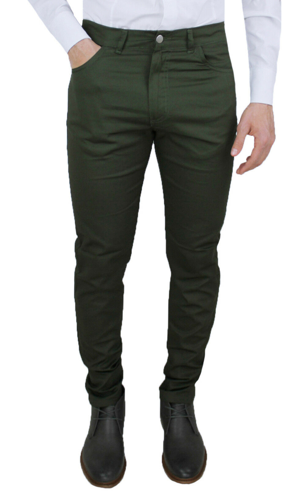 MEN'S TROUSERS CRISTIANO BATTISTINI MADE IN ITALY MILITARY GREEN CASUAL JEANS