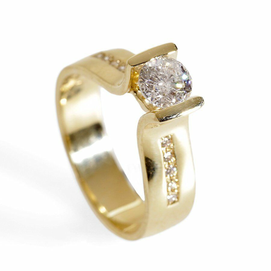 Promise Bridal Wedding Engagement Ring 2ct Round Cut Diamond 14k Yellowgold Over