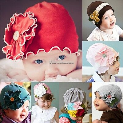 Cute New Baby Girl Kids Toddler Cotton Flower Hat Cap Headwear Soft HairBand SH