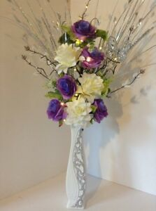Image is loading Artificial-Silk-Flower-Arrangement-White-&-Purple-Flowers - & Artificial Silk Flower Arrangement White \u0026 Purple Flowers Glitter ...