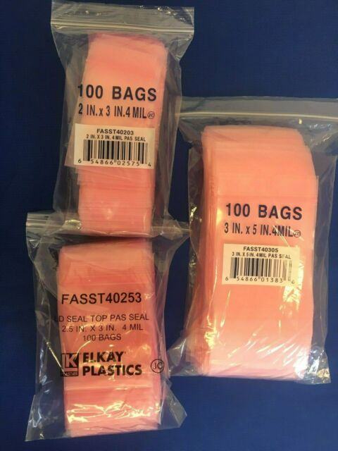 100 Pink Antistatic 4x6 4-Mil Reclosable Zip Bags with Zipper Seal Top Lock Bags