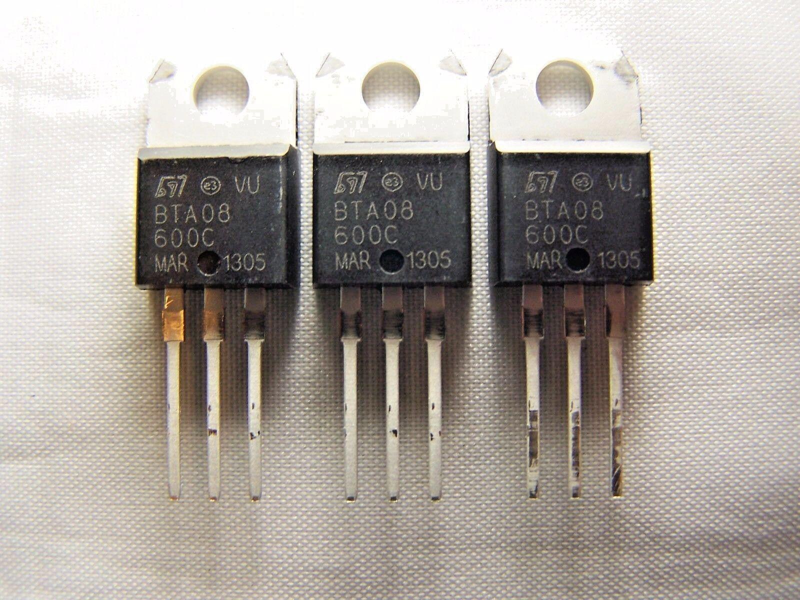 100 pieces STMICROELECTRONICS BTB08-600BRG TRIAC TO-220AB 600V 8A