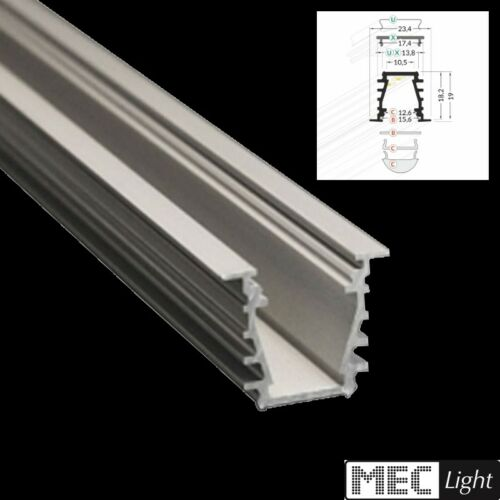"2m Einbau ALU-Leiste /""DEEP/"" Aluminium-Profil opaler Abdeckung 11,95€//m"