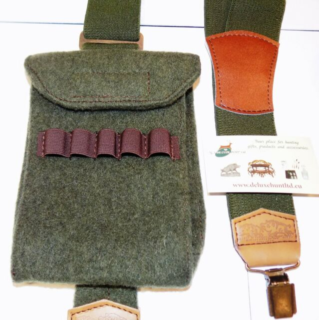 Wild Boar and shotguns hunting Green  Trouser Braces  shooting Gift Boxed