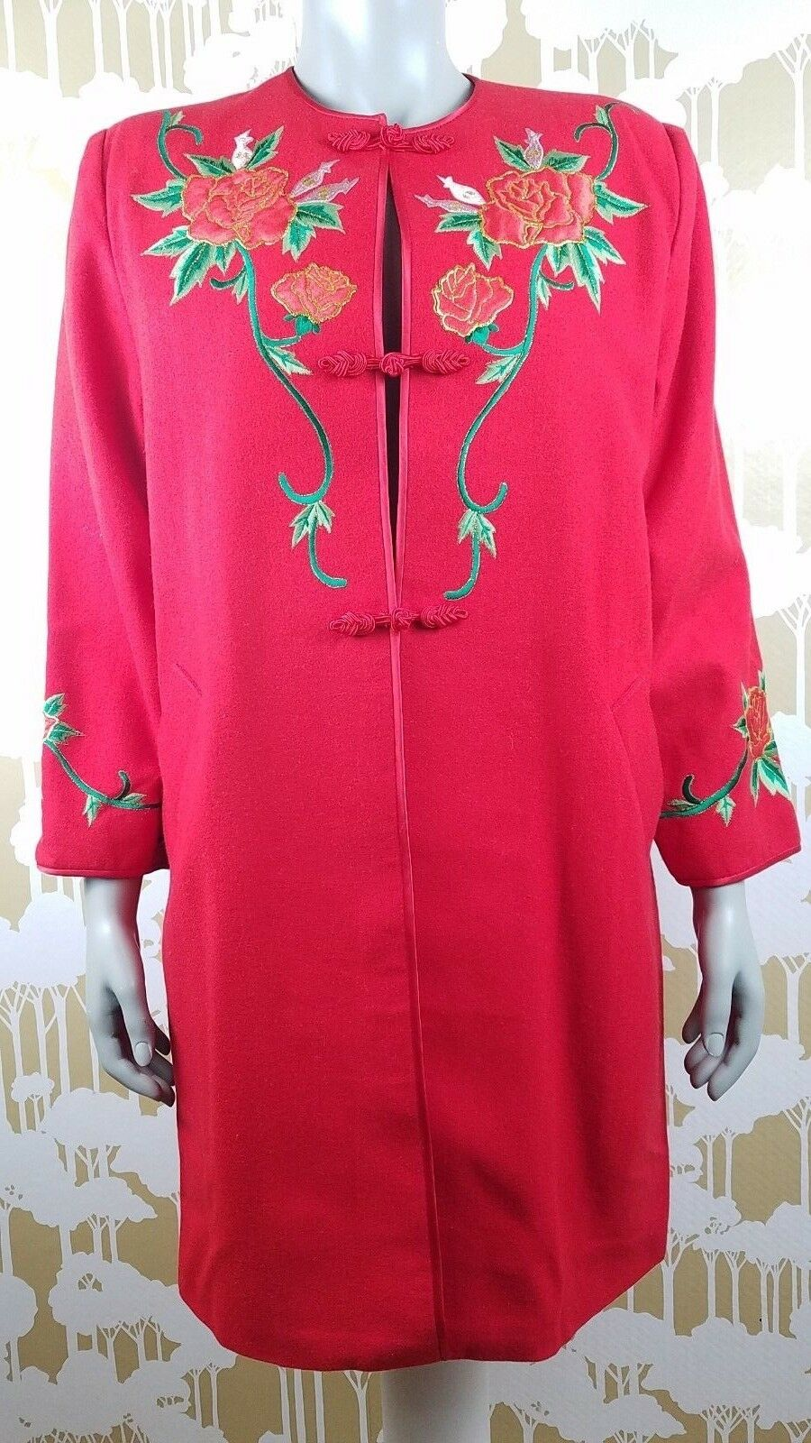 Vintage Yang Lan Women's Romantic Red pink Embroidered Long Coat Lined Career
