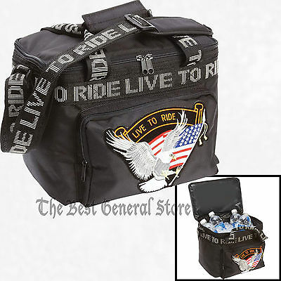 Black Motorcycle Biker Cooler Bag Chest Live To Ride Patch Sissy Bar Strap