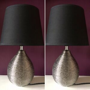 NEW-Pair-of-Black-And-Silver-grey-Table-Lamps-Lights-Bedside-Bedroom-Metallic
