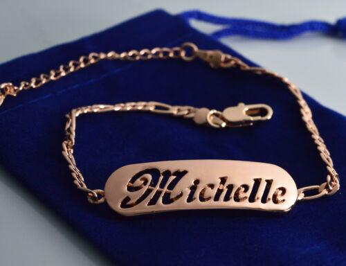 Michelle-nombre en una pulsera-Plateado-de 18 quilates chapado en oro-Regalos Para Ella