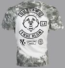 TRUE RELIGION Mens T-Shirt OUTLAWS Buddha Dark Grey Tie Dye $89 Jeans NWT