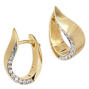 Creolen-585-Gold-Gelbgold-bicolor-teilmatt-18-Diamanten-Brillanten-Ohrringe